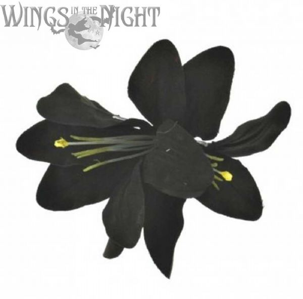 Gothic Double Black Lily Clip